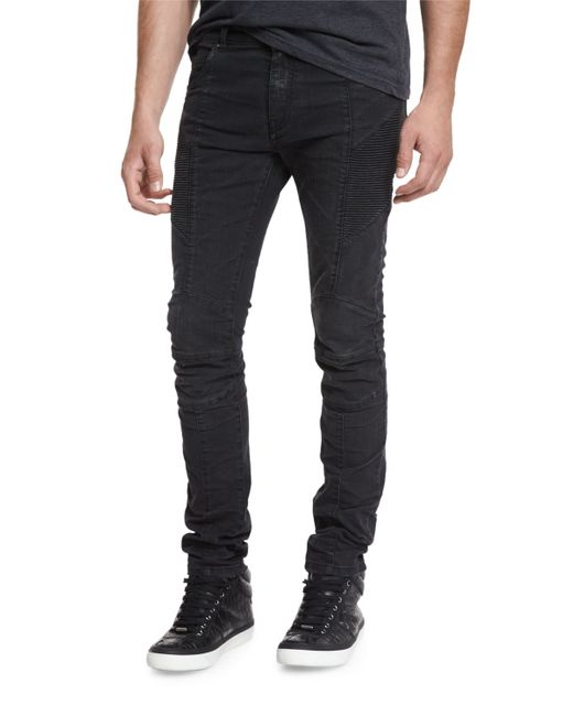 Balmain | Black Skinny-fit Biker Denim Jeans | Lyst