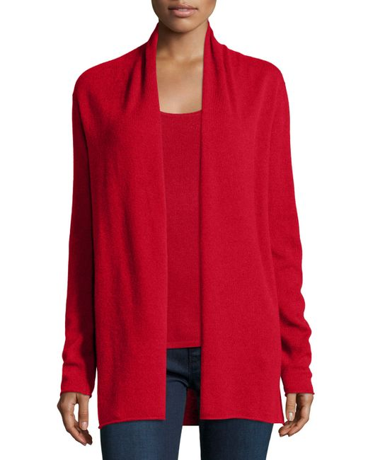 Neiman Marcus | Red Cashmere Draped Cardigan | Lyst