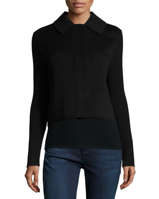 Neiman Marcus | Black Double-face Cashmere Short Jacket | Lyst