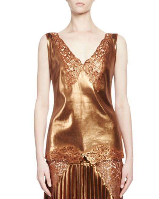 Stella McCartney | Multicolor Anastasia Metallic Lace-trim Top | Lyst