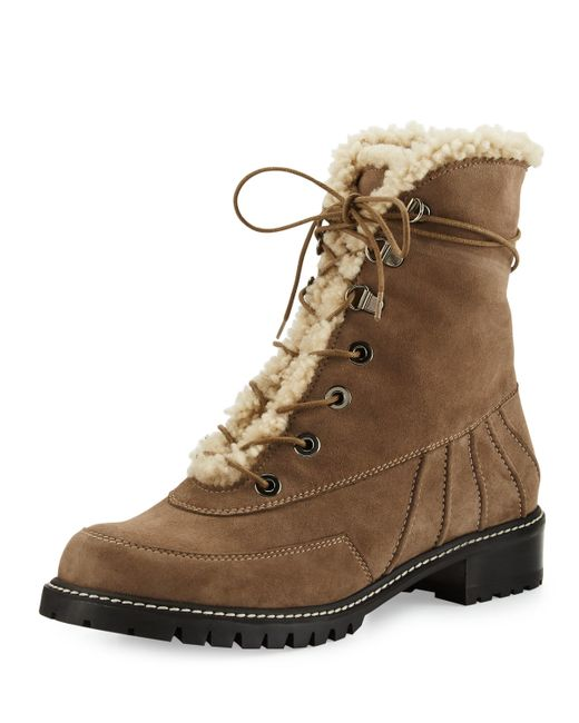 Stuart Weitzman   Brown Forest Shearling and Suede Ankle Boots   Lyst
