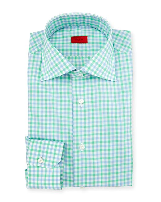 Isaia two tone gingham mitered cuff dress shirt in green for Mens green gingham dress shirt
