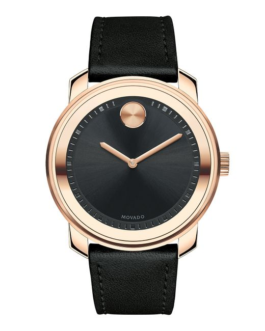 movado 425mm bold watch with leather strap in metallic lyst