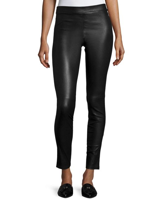 Theory | Black Adbelle L2 Bristol Leather Leggings | Lyst