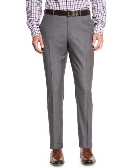 Isaia | Gray Twill Flat-front Trousers for Men | Lyst