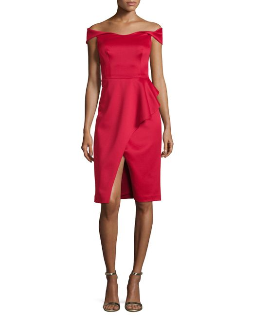 Black Halo | Red Off-the-shoulder Draped Stretch Satin Sheath Dress | Lyst