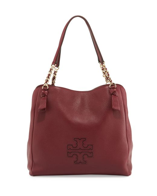 Tory Burch | Red Harper Center-zip Leather Tote Bag | Lyst