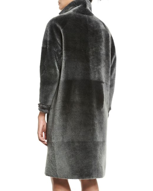 Kaufman franco Long Shearling Coat in Gray | Lyst