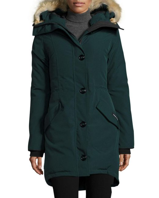 Canada Goose Rossclair Fur-trim Hooded Down Parka In Green