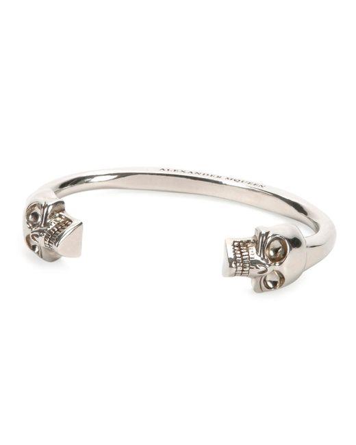 Alexander McQueen   Metallic Men's Large Twin-skull Coated Brass Bracelet for Men   Lyst