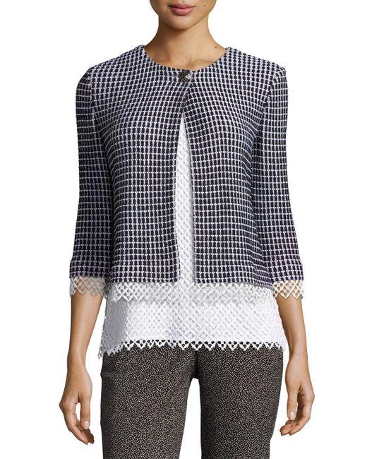 St. John | Black Lace-trim Textural Grid Knit Jacket | Lyst