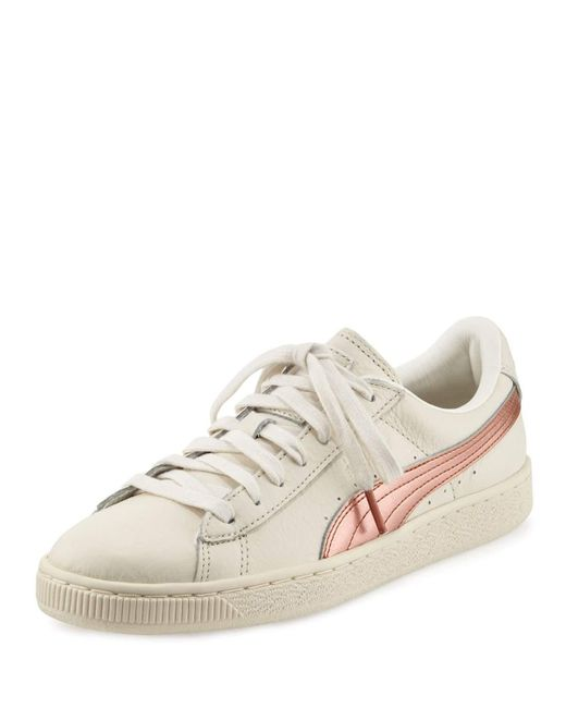 puma basket classic metallic low top sneaker in white lyst. Black Bedroom Furniture Sets. Home Design Ideas