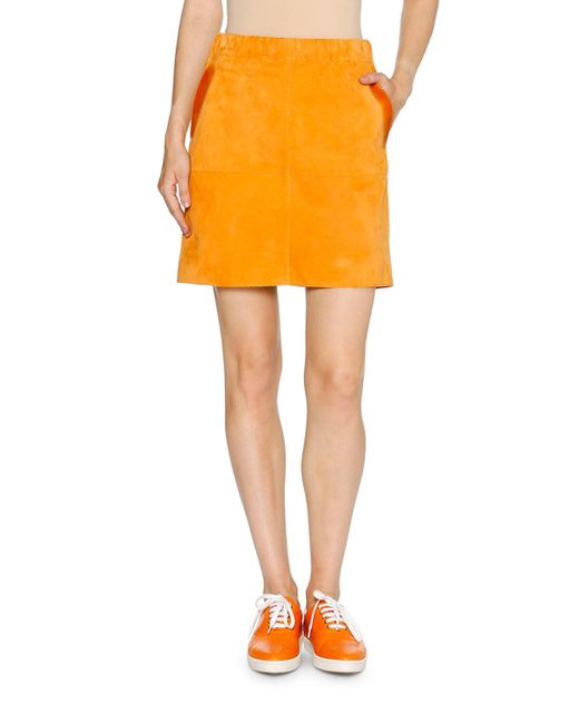 Tomas Maier | Orange Glazed Suede A-line Mini Skirt | Lyst
