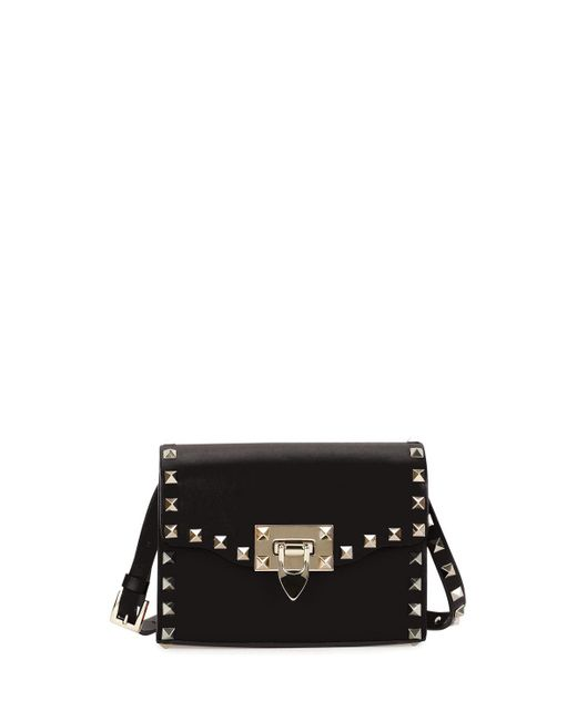 Valentino | Black Rockstud Mini Leather Flap Shoulder Bag | Lyst