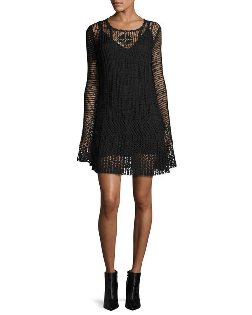 McQ Alexander McQueen | Black Long-sleeve Macrame Mini Dress | Lyst