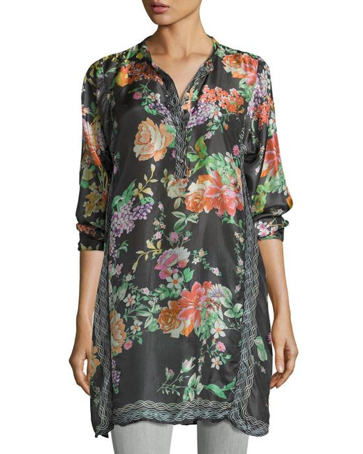 Johnny Was Camilla Long Floral Print Silk Tunic In Green
