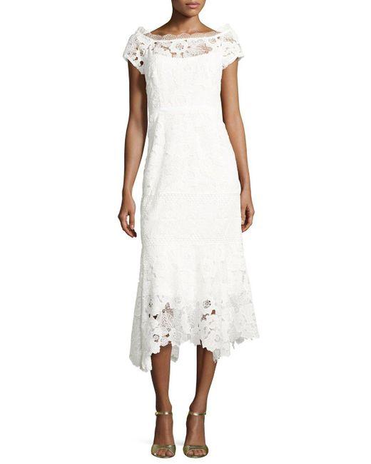 Nanette Lepore Cap Sleeve Lace Illusion Midi Dress In
