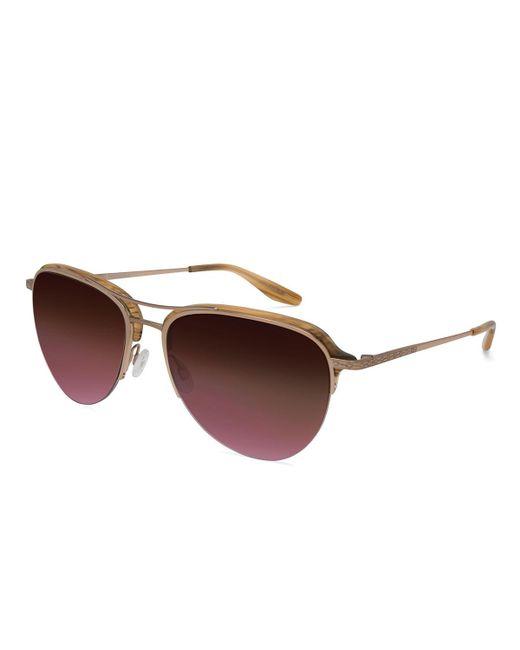 Barton Perreira | Brown Airman Half-rim Aviator Sunglasses | Lyst