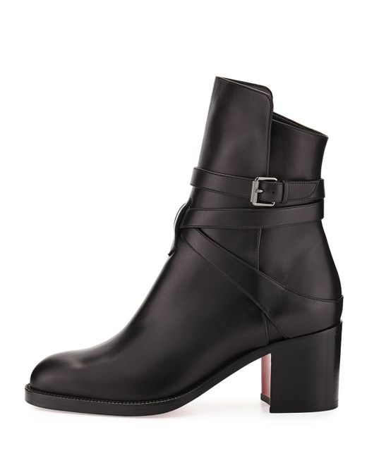 Christian Louboutin | Black Karistrap Leather 70mm Red Sole Ankle Boot | Lyst