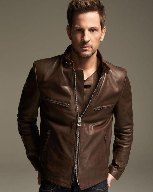 Tom Ford Leather Caf 233 Biker Jacket In Brown For Men Lyst