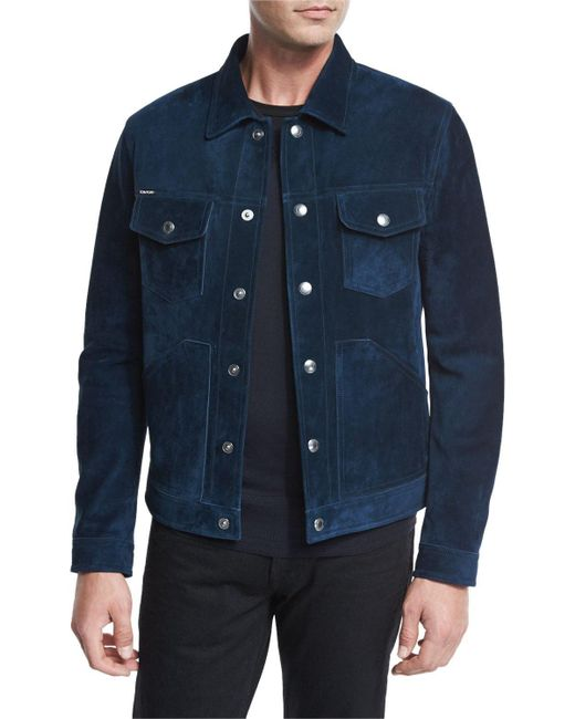 Tom Ford Suede Utility Jacket In Blue For Men Lyst
