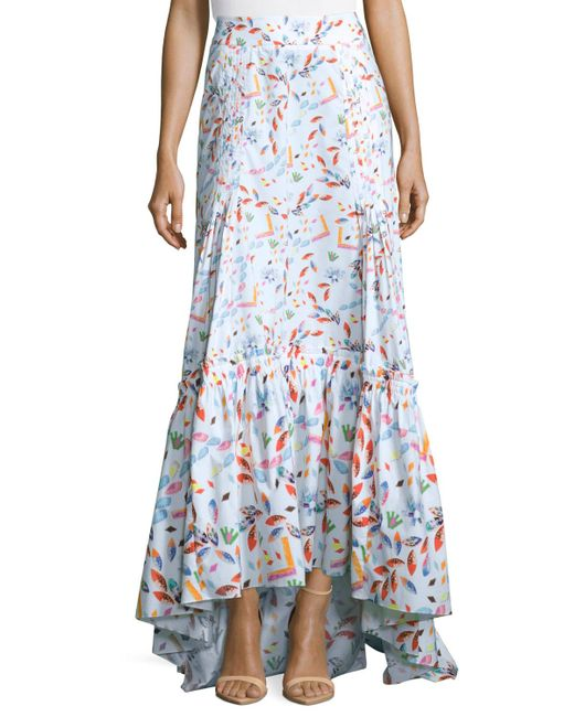 pilotto floral tiered maxi skirt in white lyst