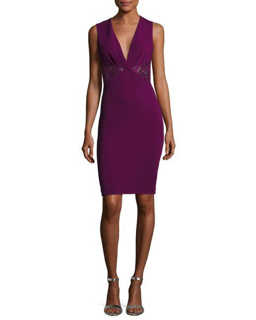 Roberto Cavalli | Purple Sleeveless Lace-inset Sheath Dress | Lyst