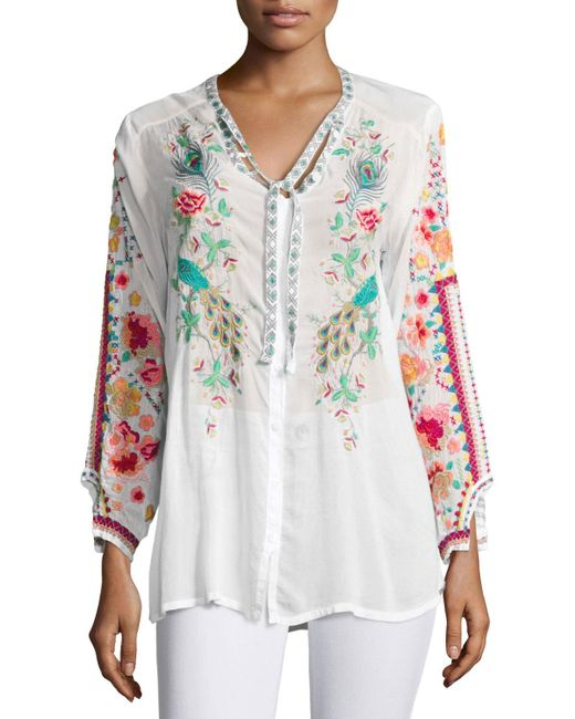 Johnny was Peacock Embroidered Georgette Top in White | Lyst