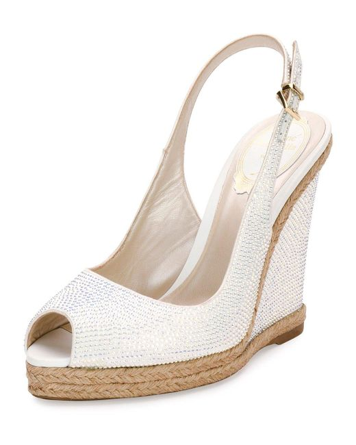 Rene caovilla Crystal Wedge Espadrille Sandal in White | Lyst
