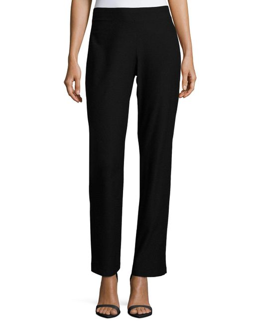Eileen Fisher | Black Washable Stretch-crepe Boot-cut Pants | Lyst