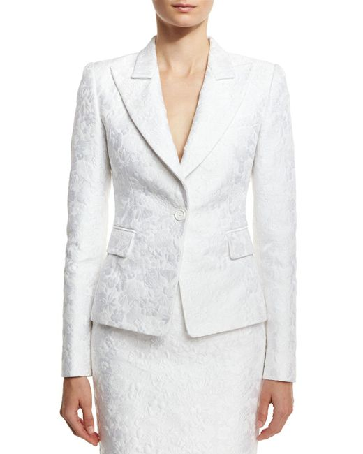Michael Kors | White Floral Jacquard Structured Blazer | Lyst