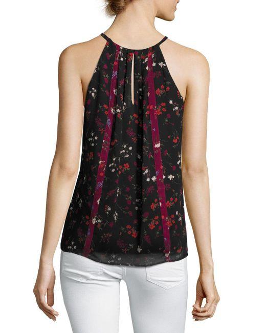 Joie   Black Hawn Sleeveless Floral-print Silk Top   Lyst