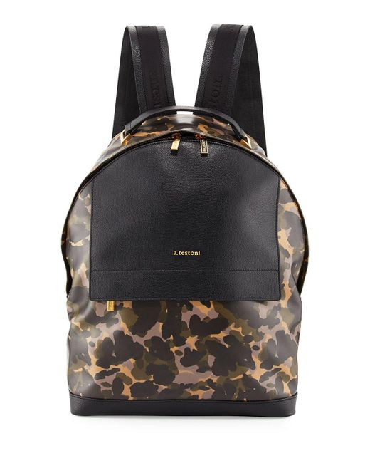 A.Testoni   Black Camouflage Leather Backpack   Lyst