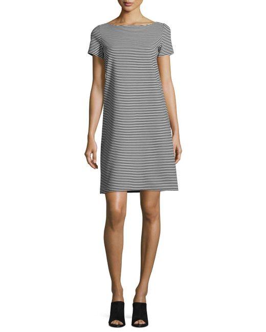 Lafayette 148 New York | Black Cross-back Textured Striped Jersey Shift Dress | Lyst