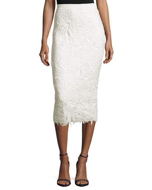 sachin babi lace trim ponte pencil skirt in white lyst