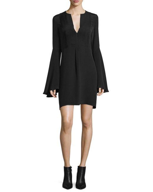 derek lam bell sleeve silk shift dress in black lyst