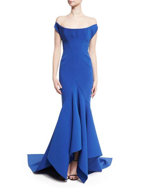 Zac Posen | Blue Scoop Off-the-shoulder Trumpet Gown | Lyst