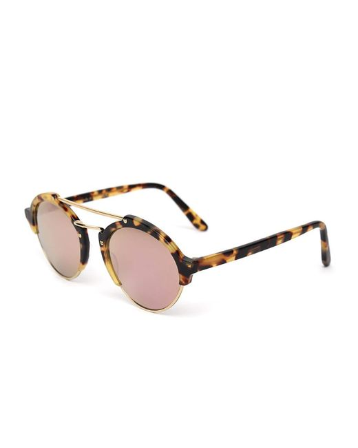 Illesteva   Brown Milan Ii Mirrored Round Sunglasses   Lyst
