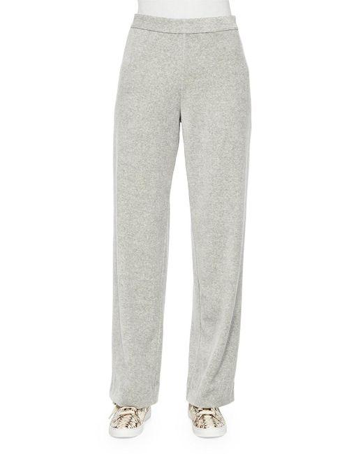 Joan Vass | Gray Velour Full-length Jog Pants | Lyst