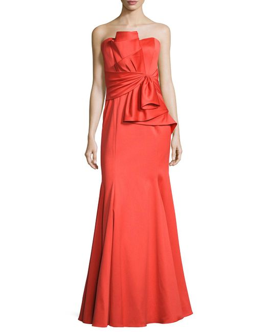 Badgley mischka strapless sweetheart cascade ruffle gown for Badgley mischka store nyc