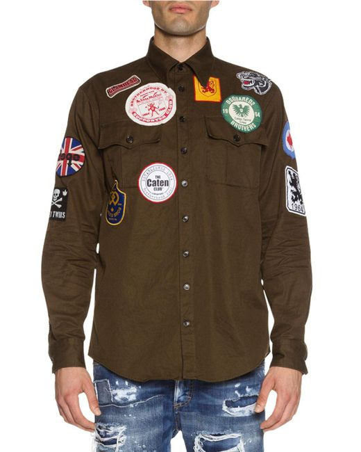 Dsquaredu00b2 Military Shirt Jacket With Patches In Green For Men | Lyst