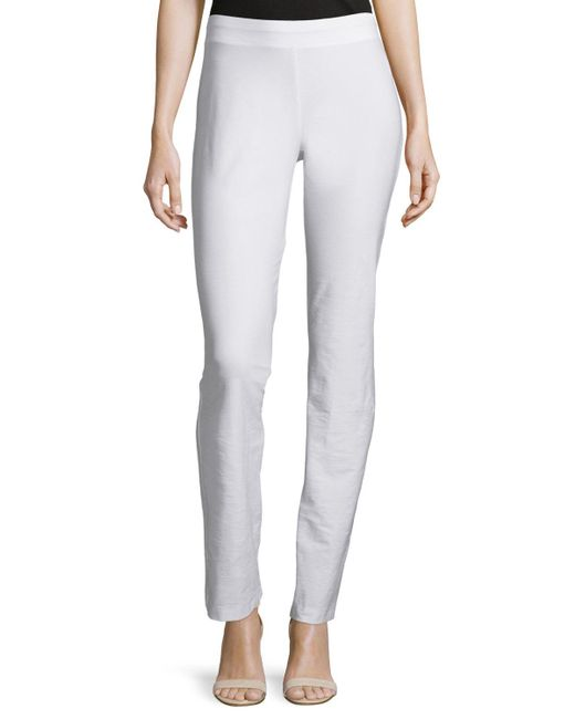 Eileen Fisher | White Washable-crepe Boot-cut Pants | Lyst