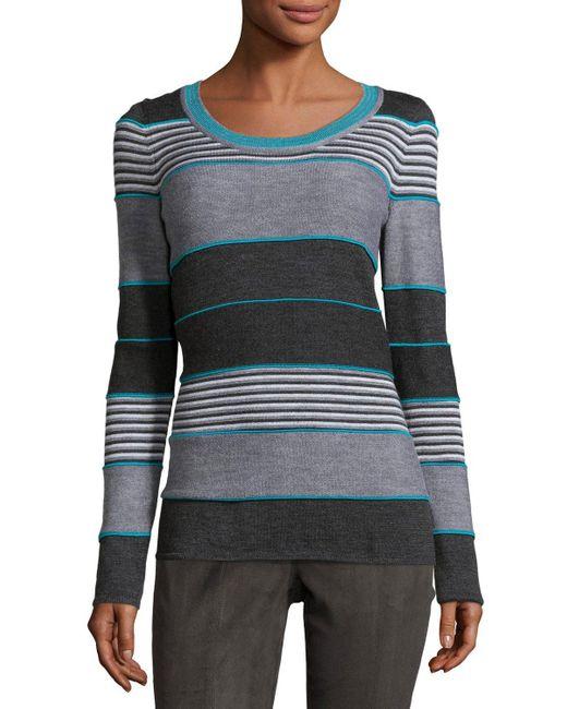St. John | Multicolor Striped Jewel-neck Sweater | Lyst