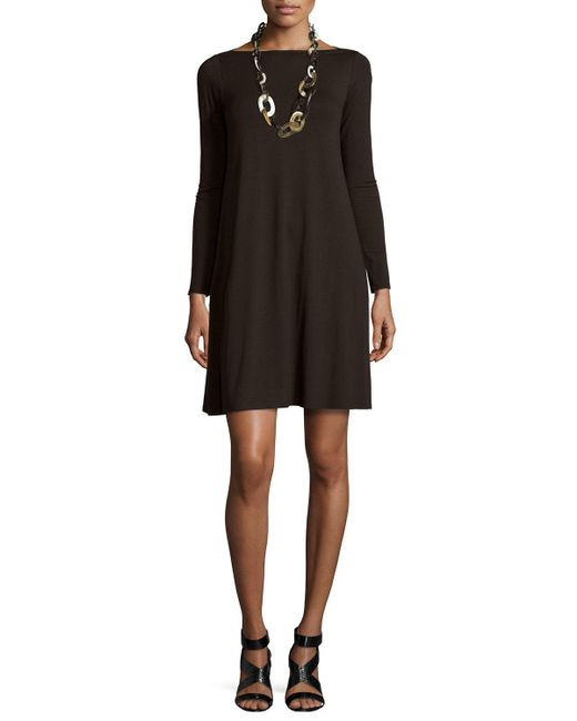 Eileen Fisher | Brown Long-sleeve A-line Dress | Lyst