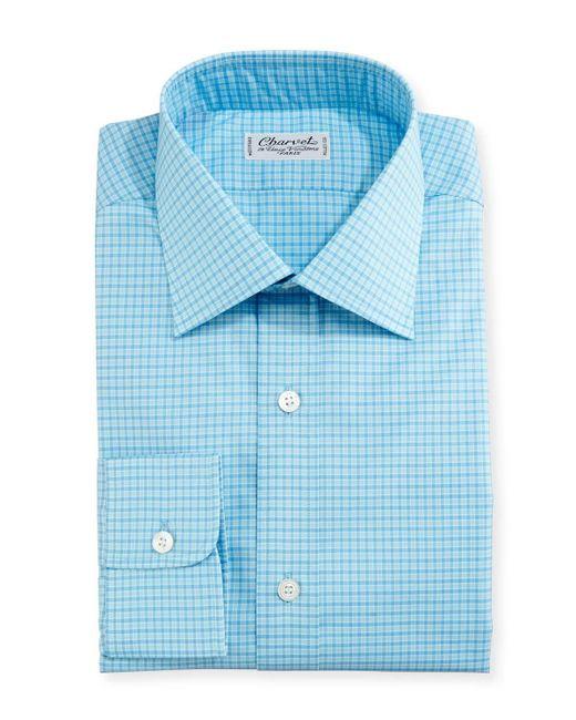 Charvet | Blue Mini-check Dress Shirt for Men | Lyst