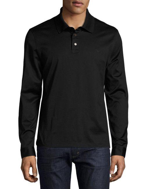 Ferragamo long sleeve gancio polo shirt in black for men for Women s long sleeve polo shirts sale