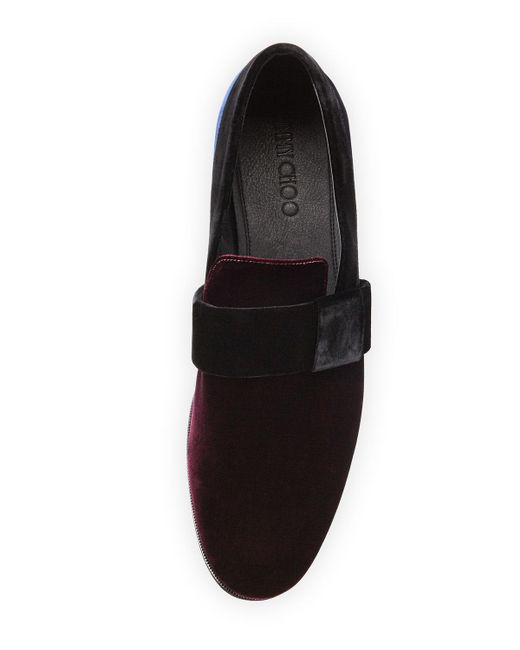 jimmy choo s colorblock velvet slip on shoe in