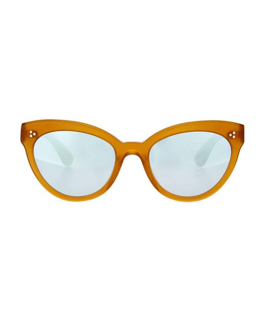 Oliver Peoples | Yellow Roella Mirrored Cat-eye Sunglasses | Lyst