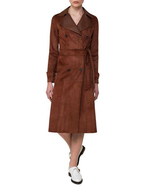 Akris | Brown Suede & Leather Double-breasted Trench Coat | Lyst