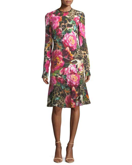 Naeem Khan | Multicolor Long-sleeve Floral & Leopard Print Dress | Lyst